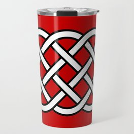 Celtic Knot Pattern, Deep Red, Black and White Travel Mug