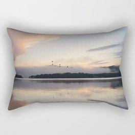 Lifting Up: Geese Rise at Dawn on Lake George Rectangular Pillow