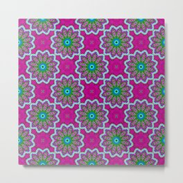 Fuchsia and Green Kaliedo Pattern Metal Print