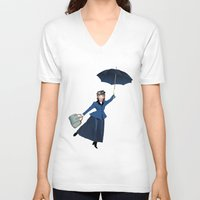 mary poppins V-neck T-shirts featuring Mary Poppins by Vannina
