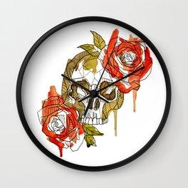 Geometric Skull & Roses Wall Clock