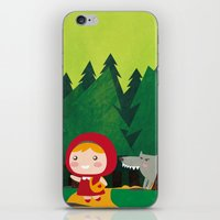 red riding hood iPhone & iPod Skins featuring Little Red Riding Hood by parisian samurai studio
