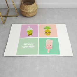 Hello Summer bright tropical card, pineapple, smoothie cup, ice cream, bubble tea. Kawaii cute face. Rug