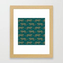 Kitty Parade - Olive on Dark Teal Framed Art Print