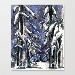 Dark winter forest Canvas Print