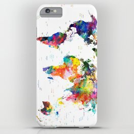 world map political watercolor 2 iPhone Case