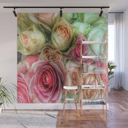 Roses - Pink and Cream Wall Mural