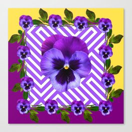 ABSTRACT YELLOW  CONTEMPORARY LILAC PURPLE PANSIES Canvas Print