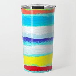 Ocean Blue Summer blue abstract painting stripes pattern beach tropical holiday california hawaii Travel Mug