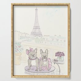 French Bulldogs and Tea in Paris with Eiffel Tower View Serving Tray