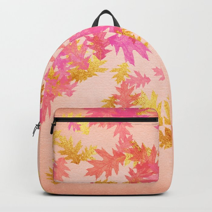 Autumn-world 1 - gold glitter leaves on pink background Backpack