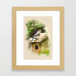 Watercolor Bluebird Art Framed Art Print