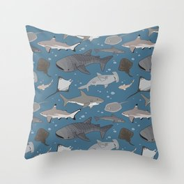 Sharks and Rays Throw Pillow