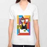 breakfast V-neck T-shirts featuring Breakfast by Szoki