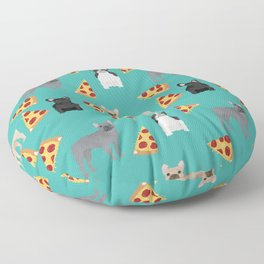 frenchie pizza cute funny dog breed pet pattern french bulldog Floor Pillow