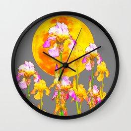 IRIS GARDEN & RISING GOLD MOON  IN GREY SKY Wall Clock