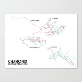Chamonix, Haute-Savoie, FRA - NA Edition (Labeled) - Minimalist Trail Art Canvas Print