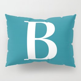 Teal and White Initial Letter B Monogram Pillow Sham