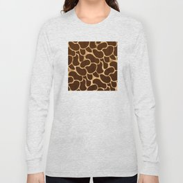 Rose Gold Beans and Deep Sienna Brown Pattern Long Sleeve T-shirt