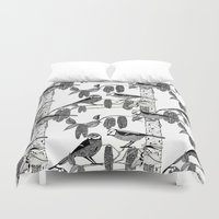 tits Duvet Covers featuring Blue Tits and Catkins by LindaWinegum