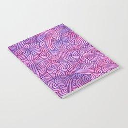 Neon pink and purple swirls doodles Notebook