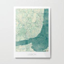 Lisbon Map Blue Vintage Metal Print