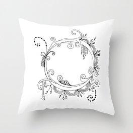 Floral Circle Doodle Throw Pillow