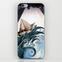 Origami Boat on a Wave iPhone Skin