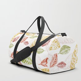 White pattern with leaves Duffle Bag