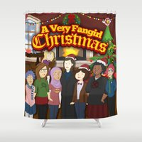 fangirl Shower Curtains featuring A Very Fangirl Christmas by Leigh Lahav
