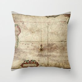 Map of the Southern Atlantic Ocean (1681) Throw Pillow