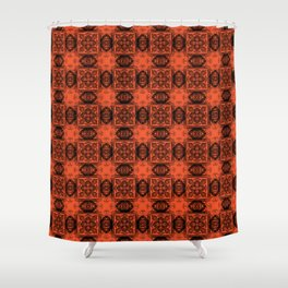 Flame Geometric Floral Shower Curtain