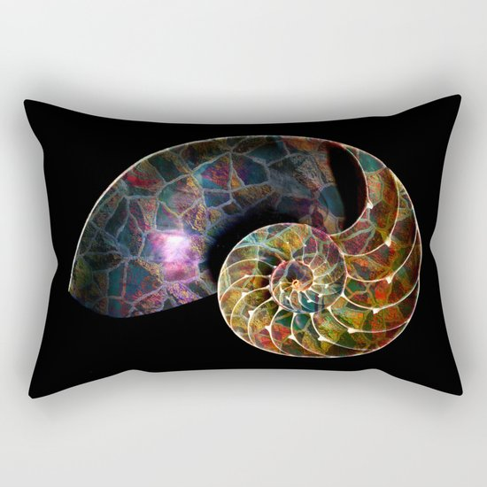 Fossilized Nautilus Shell Rectangular Pillow