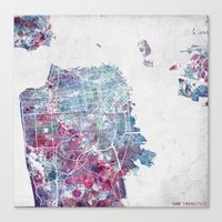 san francisco map Canvas Prints featuring San Francisco map by MapMapMaps.Watercolors