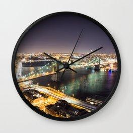 Brooklyn Bridge at Night Wall Clock