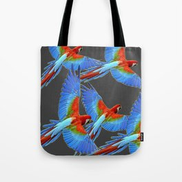 FLOCK OF BLUE MACAWS ON CHARCOAL Tote Bag