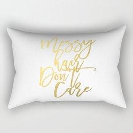 "Fashion Quote ""Messy hair don't care"" Fashion Print Fashionista Girl Bathroom Decor Gold Foil Print Rectangular Pillow"