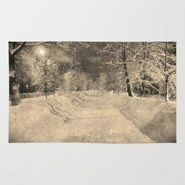 Wonderful winter night snowy street Rug