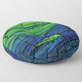 Crystalline Green and Blue Floor Pillow