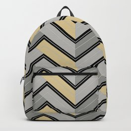 Grays - Black Yellow-Green Horizontal Ripped Chevron Pattern Backpack