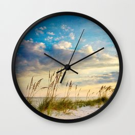 Sea Oats Beach Sunset Wall Clock