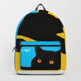 Black Cat on Yellow and Sky Blue Backpack