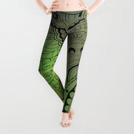 transparent black zen pattern green gradient Leggings