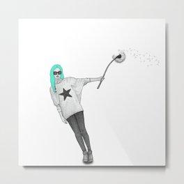 Girl with dandelion Metal Print