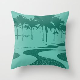 Copacabana beach, green Throw Pillow