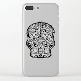 Black and White Sugar Skull Clear iPhone Case
