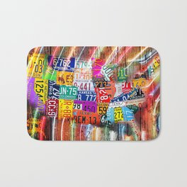 License Plate Map of United States Lights Bath Mat