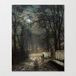 John Atkinson Grimshaw - A moonlit Lane - Victorian Retro Vintage Painting Canvas Print