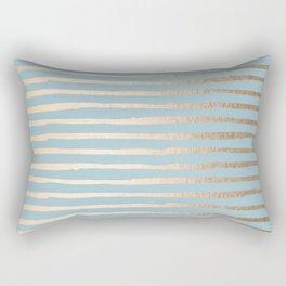 Abstract Stripes Gold Tropical Ocean Sea Blue Rectangular Pillow