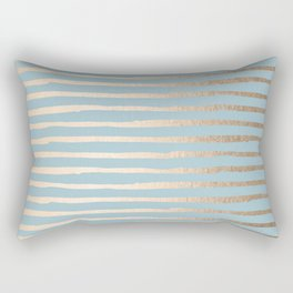 Abstract Stripes Gold Tropical Ocean Sea Blue Rectangular Pillow